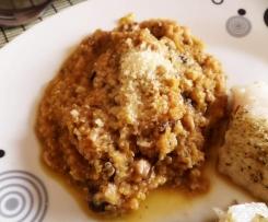 """Quinoa """"risotto"""" s houbami, pórkem a masem"""