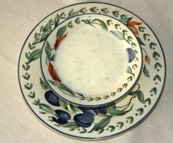 Zapečená cuketa s bramborem a česnekovou polévkou