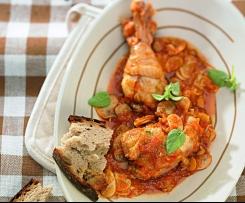 Dušené kuře s červenými paprikami