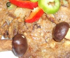 Ovesné placičky s houbami, slaninou a cuketou