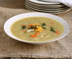 Kedlubnová polévka s mrkví a ředkvičkou