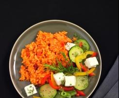 Rajčatovo-papriková rýže s letní zeleninou a feta sýrem